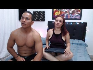 tania-joshua cam girl with shaved pussy gets naked and sucks huge wang