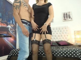 excitedcouple cam girl with shaved pussy gets naked and sucks huge wang